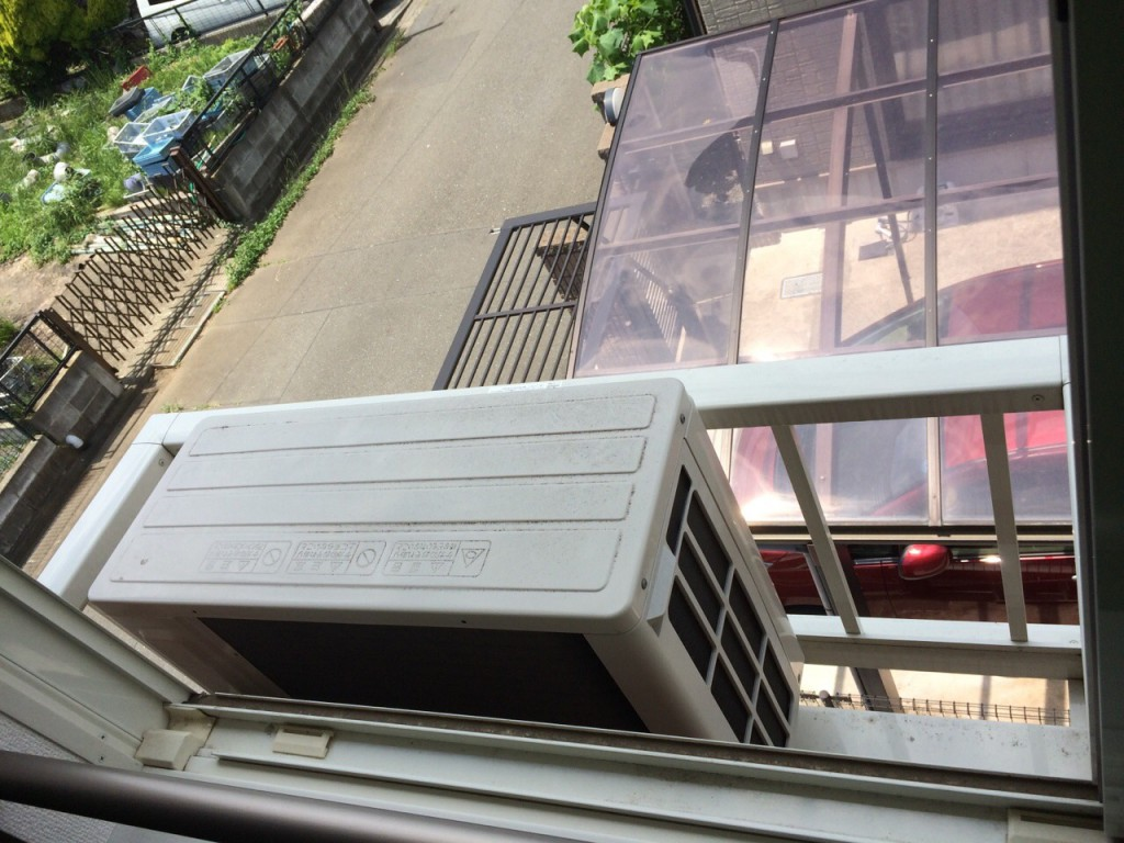 特殊な設置がされているエアコン室外機