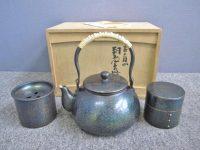 玉川堂 紫金色鎚肌 銅製茶器揃 共箱 煎茶道具 鎚起銅器