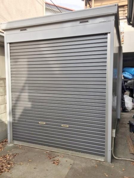 立川市にて イナバ物置 [バイク保管庫 FX-2234S ガレージ 電動シャッター W2280×D3500×H2620mm 2009年製] を買い取りました。