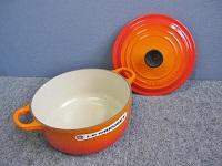 小平市にて ルクルーゼ ココットロンド 20cm 両手鍋 オレンジ を店頭買取致しました