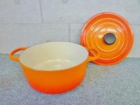 八王子市にて ルクルーゼ ココット 26cm 両手鍋 オレンジ色を店頭買取致しました