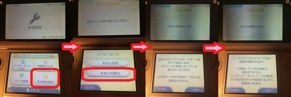3DS 初期化 手順