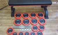 アイロテック トレーニングベンチ ラバープレート ダンベル セット シャフト付き