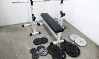 トレーニングベンチ バーベル ダンベルプレート 計90㎏