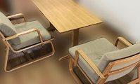 無印 リビングでもダイニングでも使えるテーブル&ソファチェア×2