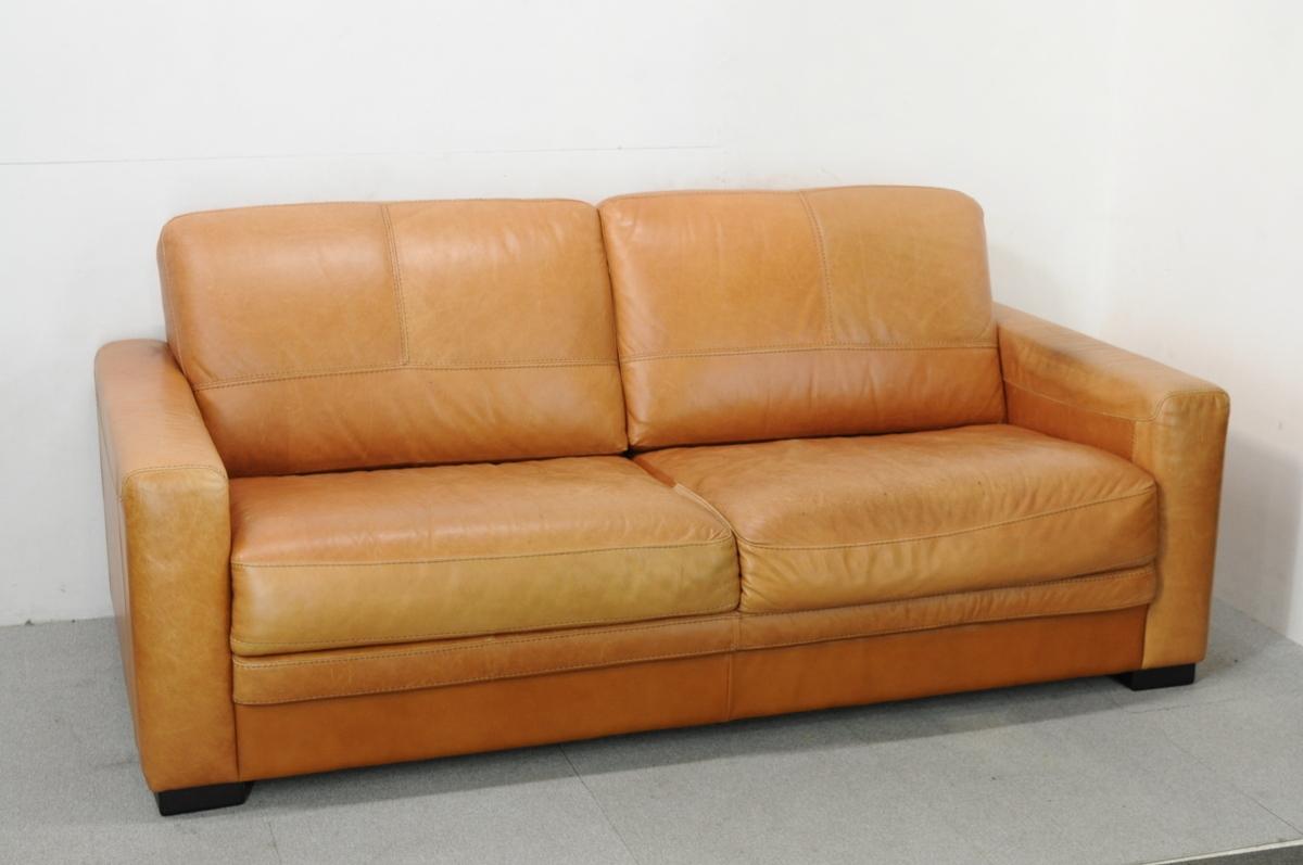 茅ケ崎市にてイタリア製 CONTEMPO コンテンポ ブラウン本革 ラブソファを出張買取しました