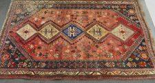 ウール手織り絨毯 ギャッペ 総柄 赤ベージュ系