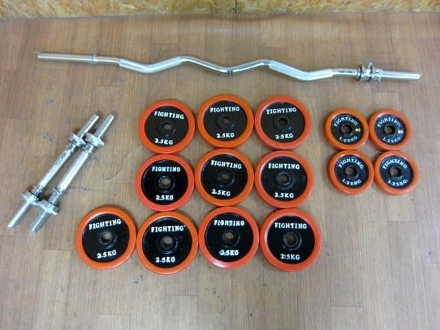 大和市にて ファイティングロード ラバー付きプレート 30kg Wバー/シャフト を店頭買取しました。