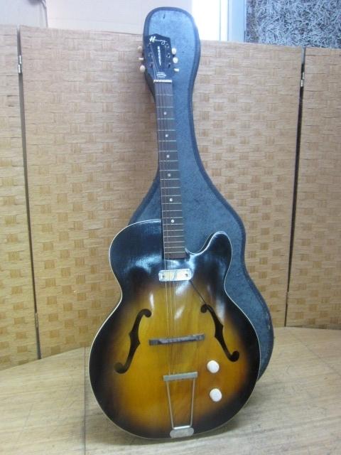 東京都世田谷区にて ハーモニーロケット セミアコースティックギター ケース付き を出張買取しました