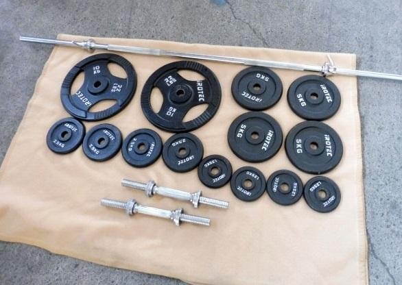 横浜市保土ヶ谷区にて iROTEC/アイロテック 計55kg ダンベル/バーベルセット を出張買取しました