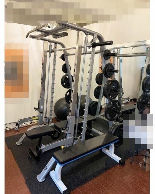 東京都 渋谷区にて タフスタッフ ベーシックスミスハーフケージ CSM-600 オリンピックバー/プレート/ベンチセット を出張買取しました
