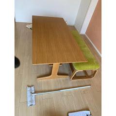無印 リビングでもダイニングでも使えるテーブル+ベンチ オーク材