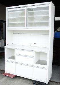 カリモク 食器棚 白