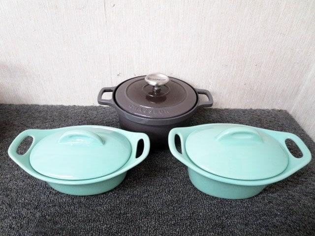 シャスール ホーロー鍋 17cm マイヤー鍋×2